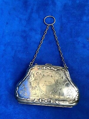 Antique Silver Case Purse with Ribbon & Bow Tie, Engraved, Link Chain Handle