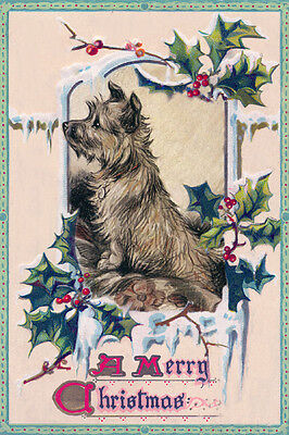 Cairn Terrier Dog Cute Lucy Dawson 1930's Dwg. ~ LARGE New Christmas Note Cards