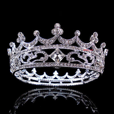 4.5cm High Full Crystal King Wedding Bridal Party Pageant Prom Tiara Round Crown