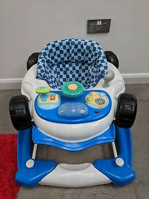 Blue Car Baby Walker with Lights and Sounds, adjustable height settings My Child