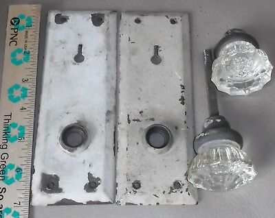 Vintage Art Deco Door Knob Set Clear Glass Crystal Brass Door Plates ships free
