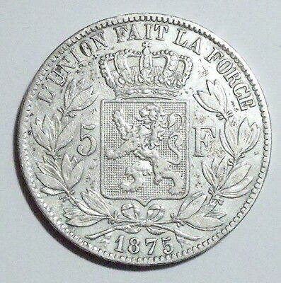 BELGIUM, Leopold II (1865-909) 5 Francs 1875 Silver -Great Condition- NO RESERVE
