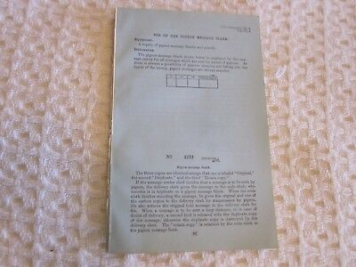 ARMY MESSENGER PIGEONS - Original Pages From 1923 Training Manual - RARE