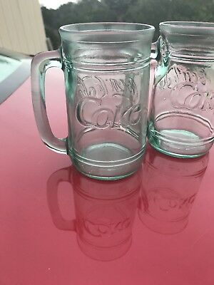"""2 Vintage Coke - Coca Cola Glass Mugs With Handles Green Tinted Glasses 5 1/2"""" T"""