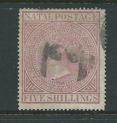 """Natal 1874/1878 Queen Victoria """"NATAL POSTAGE"""" 5s Used as Per Scan"""