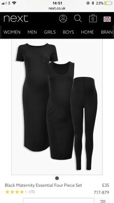 New Black Maternity Essential Three Piece Set - Dress, Skirt And Vest - Size 10