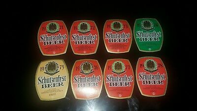8 Old beer labels special Edition Schutzenfest year 1971 to 1978