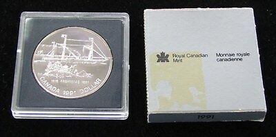 23.33 Grams .500 1991 Canada Frosted Proof Silver Dollar Coin Frontenac 175th
