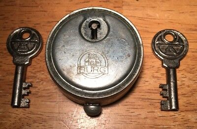 """Antique/Vintage German """"BURG"""" ROUND CHAIN PADLOCK with 2 Keys ~ Made in Germany."""