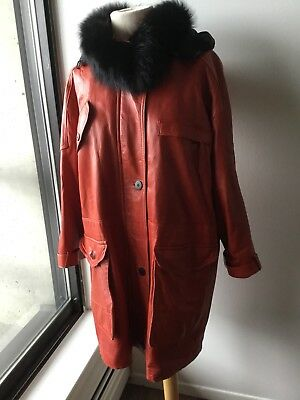 Vintage LIPTONS Canada Red Leather Buttery Soft Coat Parka Hooded Womens Sz 6