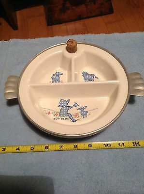 Vintage Baby Childs Divided Child Dish Little Boy Blue Nice Collectible Decor