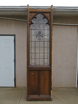 XL Antique Victorian Gothic Tiger Oak  Church Lead Glass Window Door Partition E