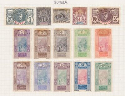 GUINEA - 15 Stamps as shown - hinged on paper
