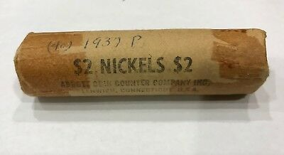 1937p Buffalo Nickel Roll - 40 Circulated Coins  Estate find Sealed