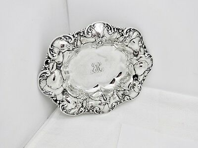 Antique Whiting Division Sterling Silver Pansy Floral Repousse Bonbon Bowl,7""