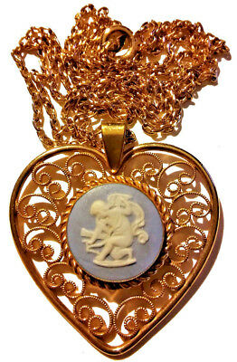 Antique Vintage Victorian Necklace Wedgwood Blue Angel Cherub Gold Gift Beauty!