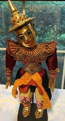 "Vintage Puppet Marionette Tin man Oriental Collectible With Stand 14"" Gold"