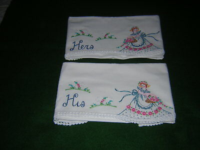 Pair Of Vintage Pillowcases Hand Embroidered Floral Ladies Crocheted Edges