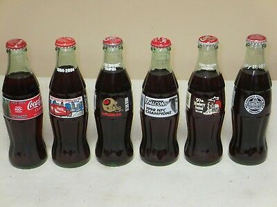 Lot Of 6 Coca Cola Bottles 8 Oz Size All Full All Different