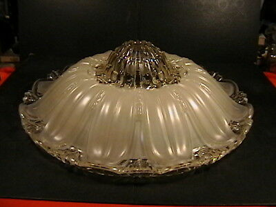 """Antique 17 1/2"""" Light Shade 3 Chain Ceiling Fixture 1920S Art Deco Frosted Large"""