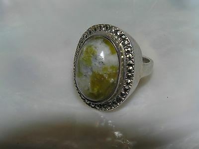 Estate Signed Large Oval Green Stone Rimmed in Marcasite Sterling Silver Ring