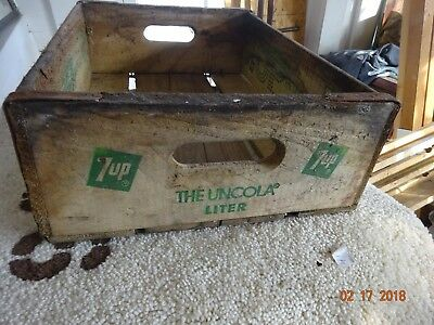 Vintage Wood 7Up Soda Pop Box Crate Carrier Tote Caddy Wooden