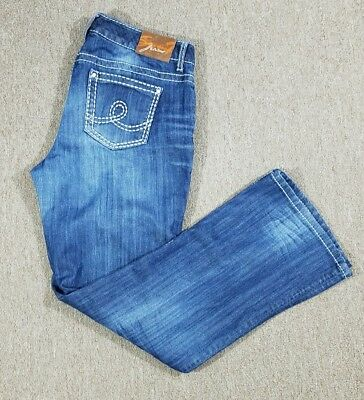 Seven 7 Women's Straight Leg Distressed Wash Blue Jeans Size 16