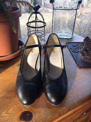 """WOMEN'S Character Dance Shoes 2"""" heel Leo's #908 Leather BLACK sizes 7.5M"""