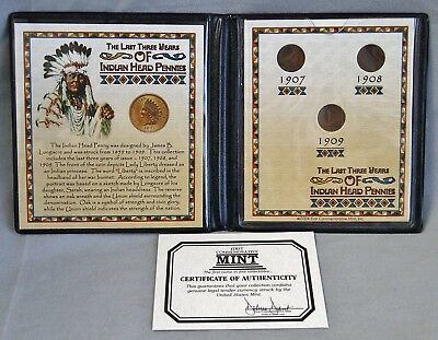 First Commemorative Mint Last Three Years of Indian Head Pennies 1907 1908 1909