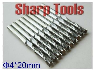 10pcs 3.175*1.2x4mm double flute carbide spiral cnc router bits milling cutter