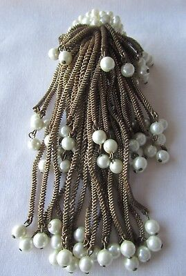 Vintage gold tone dangling  brooch with faux pearls