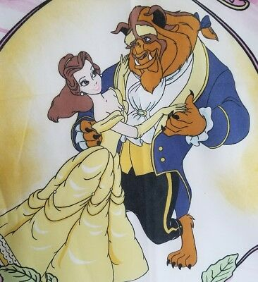 Vintage Disney Beauty And The Beast Flat Twin Bed Sheet Cutter Fabric Material