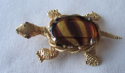 Vintage gold tone turtle brooch with brown rhinestones