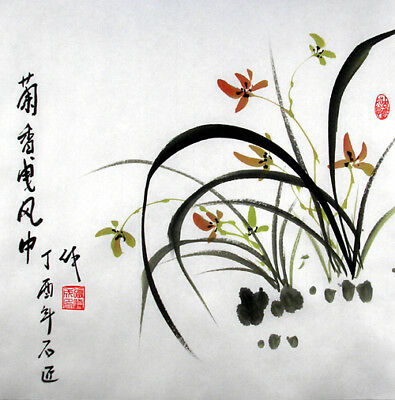 """Oriental Chinese Brush Painting Feng Shui Art-Graceful Orchid in the Wind 13x13"""""""
