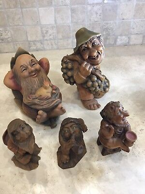 ~*~Large Lot Anri Little Folks Of The Salvans Carved Wood Gnomes from Italy~*~