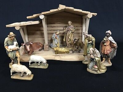 "~*~11 Pc Wood Carved 4"" Nativity Set Anri? Italy/Germany~*~"