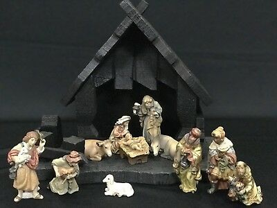 ~*~12 Pc. Wood Dolfi Nativity Set & Stable -Hand Carved In Italy (Anri Style)~*~
