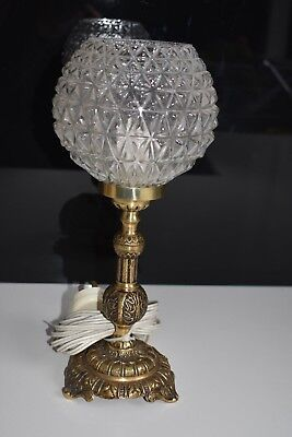 Vintage Brass Table  Lamp with Depression glass shade