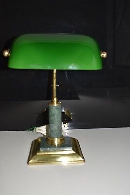 Vintage Retro Desk Lamp Brass, glass and marble