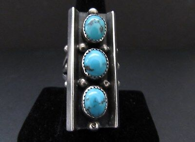 Gorgeous Vintage SAM LOVATO Santo Domingo Pueblo Sterling Turquoise Ring-Signed
