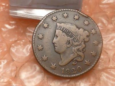 """1820 (Small Date - Curl """"2"""" Variety)  Coronet Head Large Cent VF"""