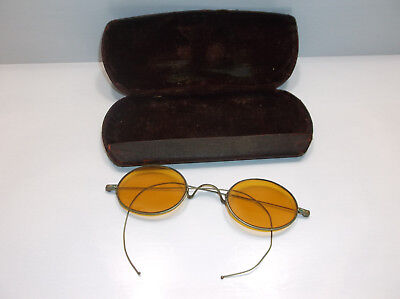 Antique Vintage TAWACS Amber/Yellow Tint Oval Rim Glasses *Steam Punk *Very Old
