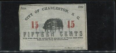 1862 15 Cents City of Charleston South Carolina Obsolete Bank Note - Civil War!!