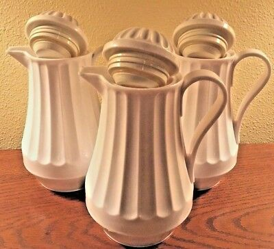 WHITE INSULATED COFFEE CARAFES NEXT DAY GOURMET 24oz SET OF 3! NICE! SHIPS FREE