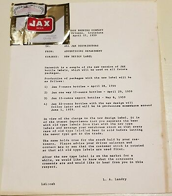 JAX BEER 1959 Jackson Brewing Company Announcement of NEW LABEL with LABEL RARE!
