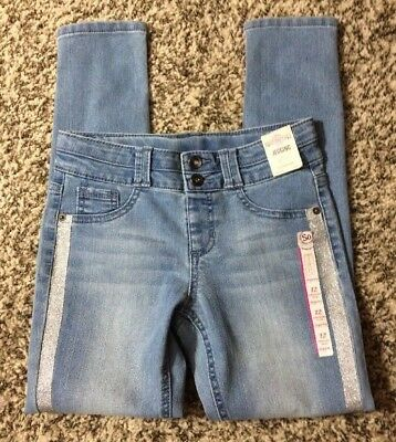 SO Girls' Blue Tuxedo Stripe Double Button Jegging Skinning Jeans-NWT-Size 12