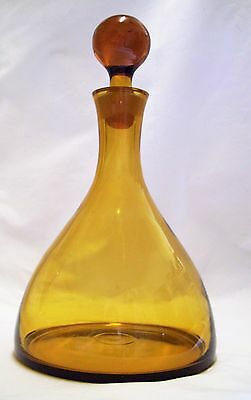Vintage Amber Glass Ships Decanter Hand Blown Exc Con