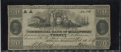 1839 $20 Dollar Commercial Bank of Millington Obsolete Note - Millington, Md!!!