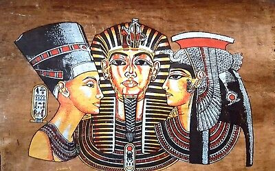Queen Nefertiti King TuT Cleopatra Hand-painted on Original Egyptian Papyrus