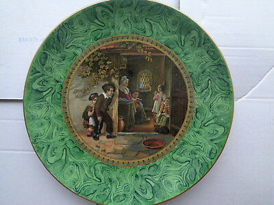 EARLY PRATTWARE PLATE THE TRUANT MINT CON 9 1/2 inches EX CROWTHER COL MALACHITE